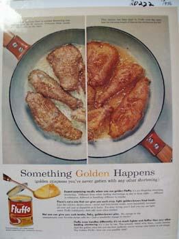 Fluffo Shortening Something Golden Ad 1956
