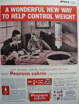 Pearson Sakrin Sweetener Helps Control Weight Ad 1956