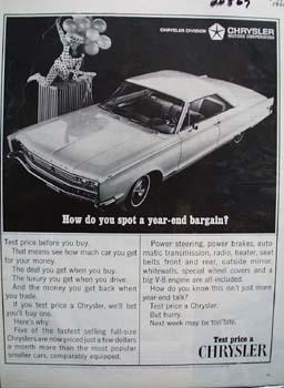 Chrysler Year End Bargain Ad 1966