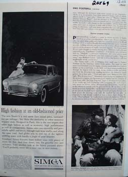 Chrysler Simca Old Fashioned Price Ad 1960