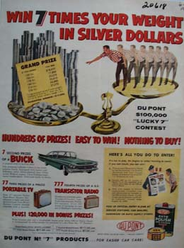 DuPont Auto Polish Silver Dollar contest Ad 1959
