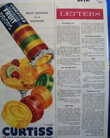 Curtiss Fruit Drops Fruit Cocktail In Package Ad 1945