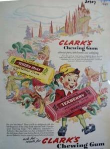 Clarks Gum Elves And Castle Ad 1943