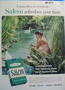 Salem Cigarettes Woman and Swan Ad 1957
