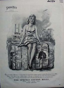 Springmaid Lady Sitting on Cotton Bale Ad 1943