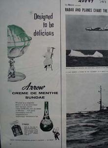 Arrow Crme de Menthe Sundae Ad 1957
