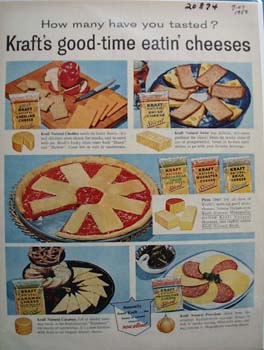 Kraft Good Time Eating Cheeses Ad 1958