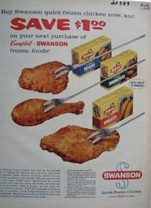 Swanson Frozen Chicken Save  1.00 Ad 1958