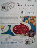 Swifts Brookfield Butter New Churned Ad 1930