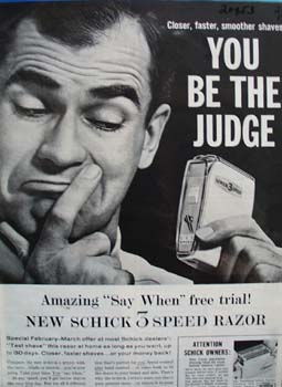 Schick Razor You Be Judge Ad 1960