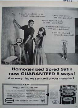 Glidden Spred Satin Paint Smooth Ad 1965