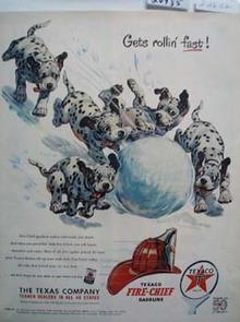 Texaco Dalmatian Get Rolling Fast Ad 1951