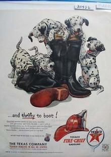 Texaco Dalmatian Thrifty to Boot Ad 1952