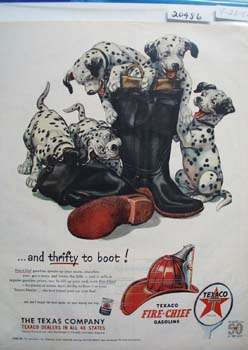 Texaco Dalmatian Thrifty to Boot Ad 1952