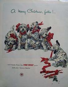 Texaco Dalmatian Merry Christmas Ad 1952