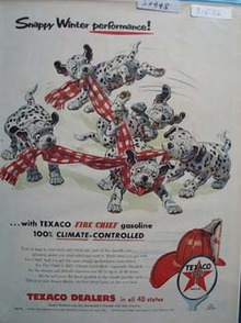 Texaco Dalmatian Snappy Winter Performance Ad 1956