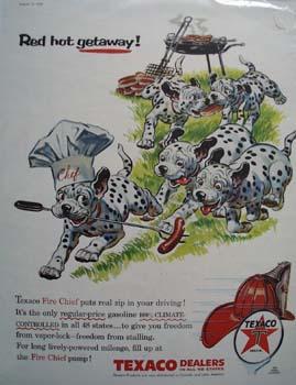 Texaco Dalmatian Red Hot Getaway Ad 1956