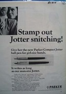 Parker Stamp Out Jotter Snitching Ad 1963