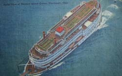 Aerial View Coney Island Steamer Island Queen Ohio Post Card