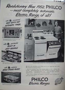 Philco Electric Range Woman With Spatula Ad 1952