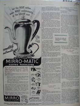 Mirro-Matic Percolator For Best Coffee Ad 1952