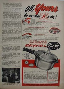 Presto Cooker All Yours for One Cent A Day Ad 1950
