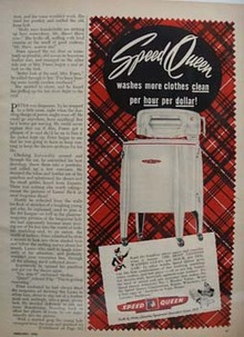 Speed Queen Washer Washes More Clothes Ad 1950