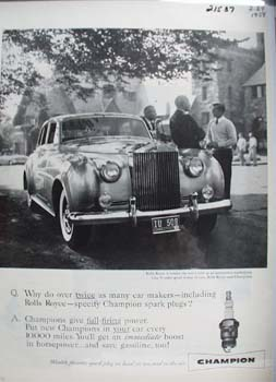 Champion And Rolls Royce Ad 1958