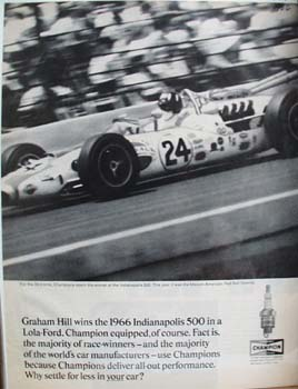 Champion Spark Plug Graham Hill Wins 500 Ad 1966