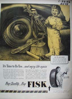 Fisk Tire Co Little Boy With Candle Ad 1946