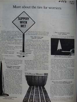 U S Royal Master About The Tire For Worriers Ad 1965