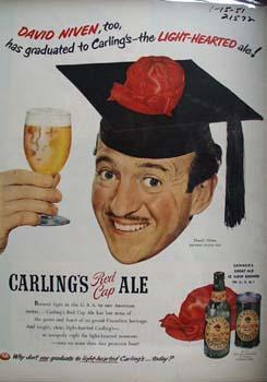 Carlings Ale and David Niven Ad 1951