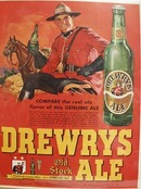 Drewrys Ale And Canadian Mountie Ad 1948