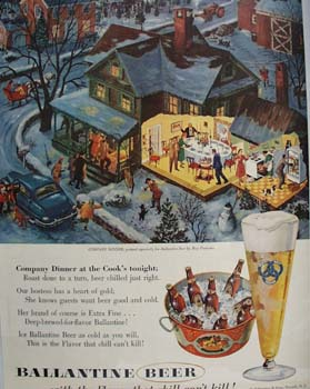 Ballantine Beer Company Dinner Ad 1954