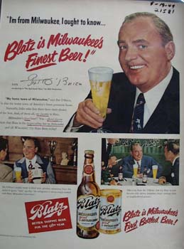 Blatz Beer And Pat O Brien Ad 1949
