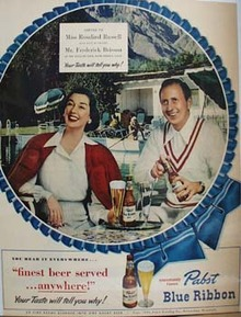 Pabst Blue Ribbon And Rosalind Russell Ad 1949