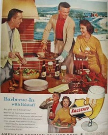 Falstaff Beer And Folks At  Barbecue Ad 1960