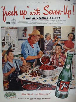 Seven Up Family And Strawberries Ad 1952