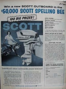 Scott Outboard Lady Sitting On Car Ad 1959