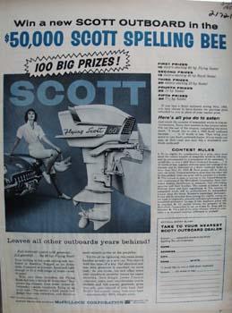 Scott Outboard Lady Sitting On Car Ad 1959
