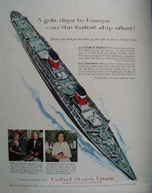 United States Lines Cruise 5 Gala Days to Europe Ad 1958