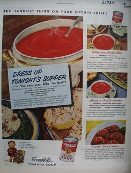 Campbells Dress Up tonights Supper Ad 1949