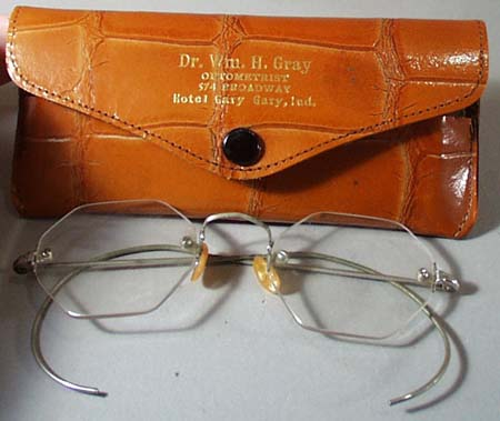 Old Glasses and case from Dr. Wm H. Gray