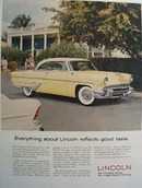 Lincoln Reflects Good Taste Ad 1955