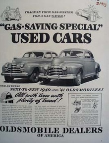 Oldsmobile Gas Saving Special Ad 1942