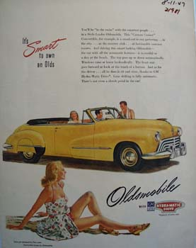 Oldsmobile Lady In Swimsuit Ad 1947