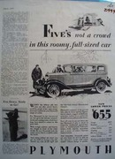 Plymouth Fives Not A Crowd Ad 1929