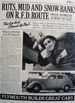 Plymouth On R F D Route Ad 1937