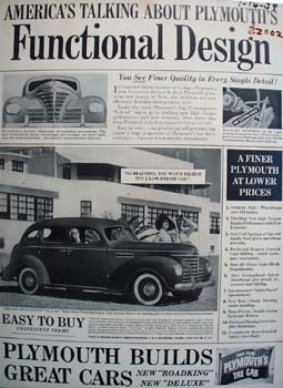 Plymouth Functional Design Ad 1939