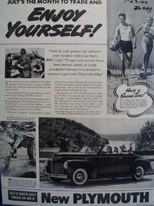 Plymouth Julys the Month To Trade Ad 1940